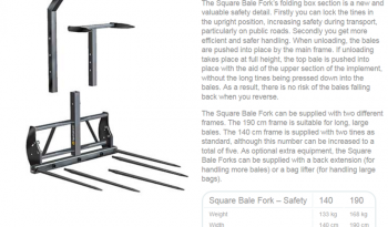 TRIMA SQUARE BALE FORK – SAFETY full
